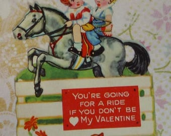 ON SALE till 7/28 Small German Diecut Vintage Valentine Card - Boy and Girl Riding Horse
