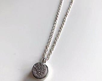 Grey Druzy Necklace | Round Dainty Druzy