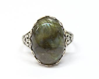Gothic ring - silver plated brass setting with labradorite cabochon - Victorian Gothic jewelry