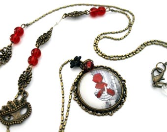 "Bohemian necklace ""little Red Riding Hood"" and tree-retro vintage glass brass bronze"