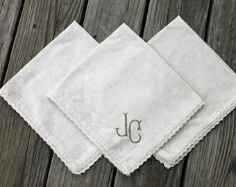 Monogrammed Dinner Napkins- set of 4 or 6- Flax and Lace napkins, Linen blend napkins, Table Linens, Monogrammed Napkins