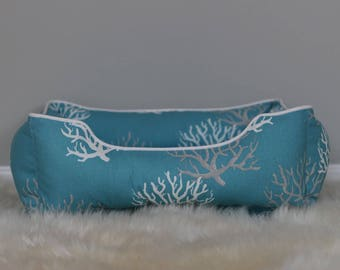Reversible dog or cat bed. Custom made for your best friend. Style: Aqua Coral
