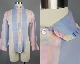 70s Pastel Plaid Button Down Shirt Small, Vintage Madras Plaid Blouse Ruffled Collar, Thin Plaid Shirt Long Sleeve