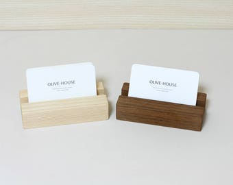 Solid Walnut Wood Business Card Holder / Wooden Card Holder / Office Card Display /Business Card Stand / Ash Wooden Business Card Holder