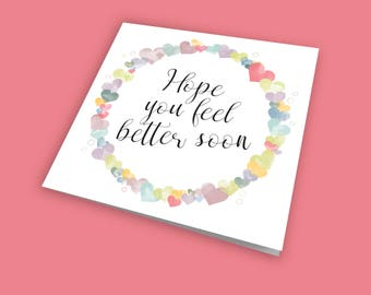 Hope you feel better soon, Get Well Card, Occasion Card, Colourful Card