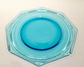 Vintage Hazel Atlas Blue Capri Octagonal Dinner Plates, Independence Day,
