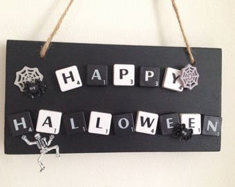 Halloween Plaque Scary Fun Happy Halloween Halloween Decor