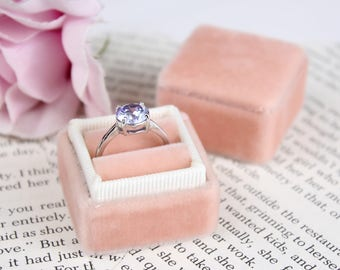 Velvet Ring Box in Coral and Peach Tropical Colors For Weddings and Proposals