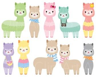 Cute Animal Clipart Alpaca Llama Clipart Clip Art Baby Animal Clipart Farm Animal Clipart Instant Digital Download