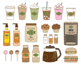 Coffee Clipart Watercolor Coffee Clip Art Cappuccino Lovers