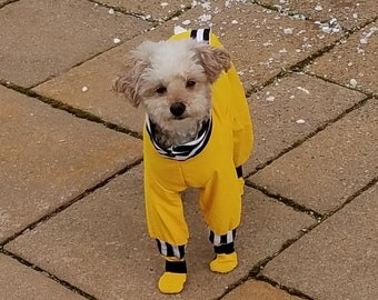 Yellow Dog Rain Coat With Built In Booties / Dog Coat / Dog Suit / Custom Made Dog Coat / Dog Boots