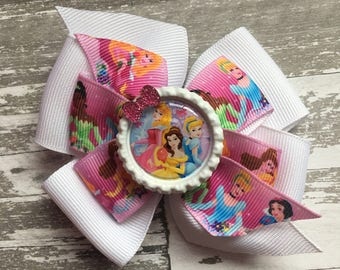 Princess Hair Bow - Princess Bow - Princess Party - Princess Birthday - Belle- Cinderella- Aurora- Disney Princess Inspired Bow