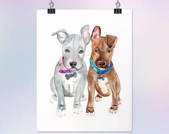 16x20 Custom Watercolor Portrait Painting of an Animal/Pet/Dog/Cat