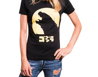 Womens Comic Manga Anime T-Shirt - Godzilla - Fancy Pint Shirt Summer Top black S/M/L