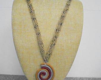 Necklace, long with pendant crochet 70 cm