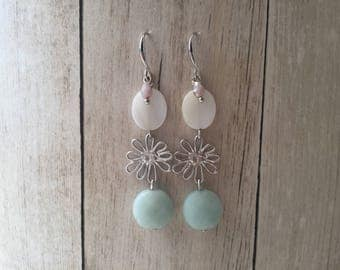 Silver plated hook earrings with pendants of jade and mother of Pearl