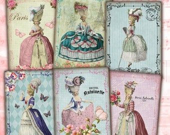 80% Off Easter Sale - Marie Antoinette Instant Download Shabby Chic Vintage French ATC ACEO Cards Digital Collage Sheet Jewelry Holders Gift