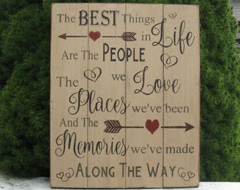 The Best Things In Life Are The People We Love The Places We've Been And The Memories We've Made ALong The Way Upcycled Wood Pallet Sign