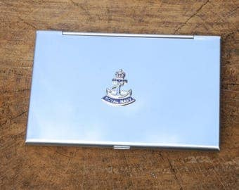 Royal Navy Crown and Anchor Business Credit Card Holder Military Gift FREE ENGRAVING ME01