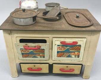 Rare Child's Toy Stove with Accessories