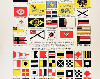 international code signal flags vintage flag print 1950s Marks on military planes Vexillology historical 17th and 18th century flags