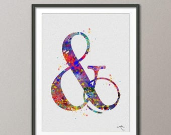 Ampersand Typography Poster Watercolor Print Wedding Gift Print  Children's Wall Art  Wall Decor Art Home Decor Wall Hanging No 348