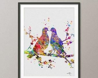 BIRDS  Watercolor Print Wedding Gift Fine Art Print Children's Wall Art Wall Love Decor Art Home Decor Wall Hanging [NO 241]