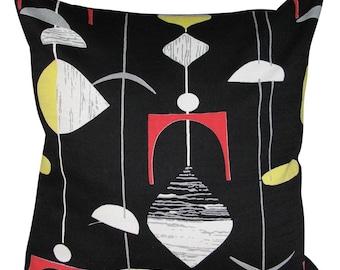 Sanderson Mobiles Black & Lemon Abstract Atomic Retro Cushion Cover