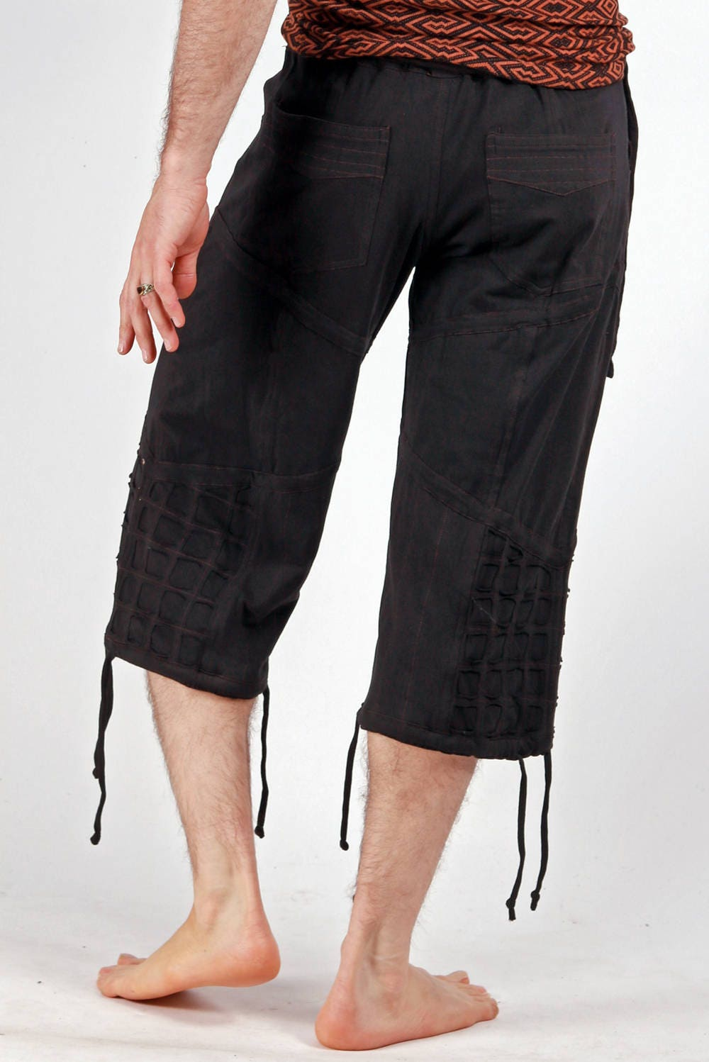 Mens Black Yoga Pirate Shorts for Festivals, Dance, Burning Man.