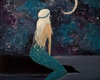 Mermaid painting on canvas