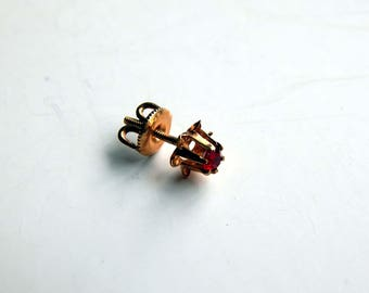 Vintage 10K Yellow Gold and Garnet Single Screw Back Earring