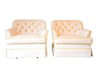 Hollywood Regency Swivel White / Yellow Club Chairs S/2