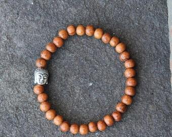 Semi-Annual SALE Bayong Wood Mala Bracelet with Buddha Charm, Bayong Mala Bracelet, Buddha Mala Bracelet, Wood Mala Bracelet, Stackable Bayo