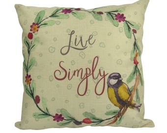 Live Simply Botanical Bird - Pillow Cover
