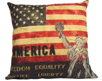 Vintage American Flag with the Statue of Liberty and the words - Freedom Equiality Justice Liberty Pillow Cover