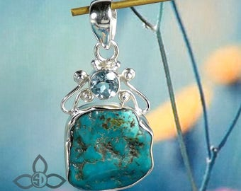 Raw Tibet Turquoise Pendant, Blue Topaz Pendant, 925 Silver Pendant, Black Friday Sale, Mother Days Sale, Blue Topaz Pendant, Jewelry