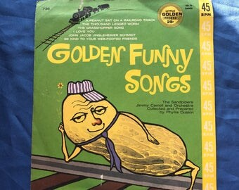 Golden Funny Songs Vintage Vinyl 45 Peanut On A Railroad Track Web Footed Friends John Jacob Jingle Grasshopper Song lcww