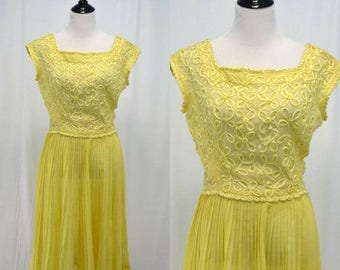 SUMMER SALE Vintage vtg 1950s 1960s Carlyle Yellow Sundress with Floral Detail and Pleated Flare Skirt Medium M Large L Sheer Dress 50s 60s