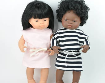 Miniland doll dresses, 16 inches doll dresses, Miniland clothes, set of two dresses, pink dress, black and white stripe dress