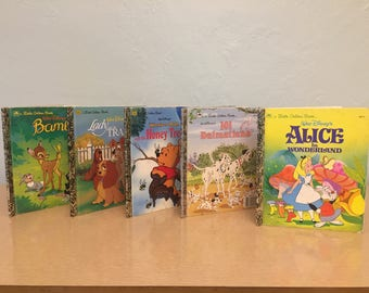 Five 1990s Classic Walt Disney Little Golden Books - 101 Dalmatians, Alice in Wonderland, Bambi, Lady And the Tramp, Winnie the Pooh