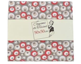 "Cut of fabric 100% cotton ""Tilo red"" 50cm X 50 cm"