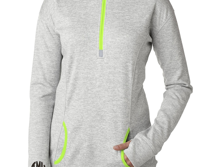 Monogram long sleeve shirt . 3 initial small monogram shirt . Cute zip up monogrammed pullover . Ladies workout , running gift ideas .