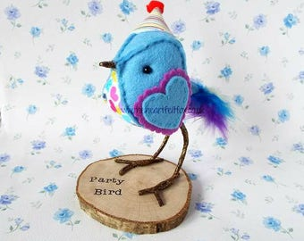 Party Tweet - Bird -Celebration-Birthday gift-Special Friend-Mum-Sister-Cousin-Auntie-Grandma-Nana-Party Animal-present-unique-cake topper