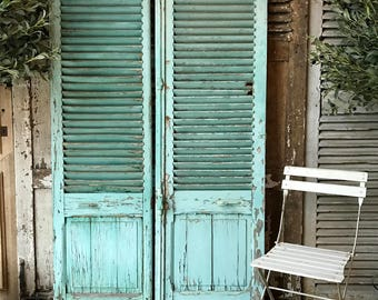 NOW SOLD - Lovely vintage French louvre shutters