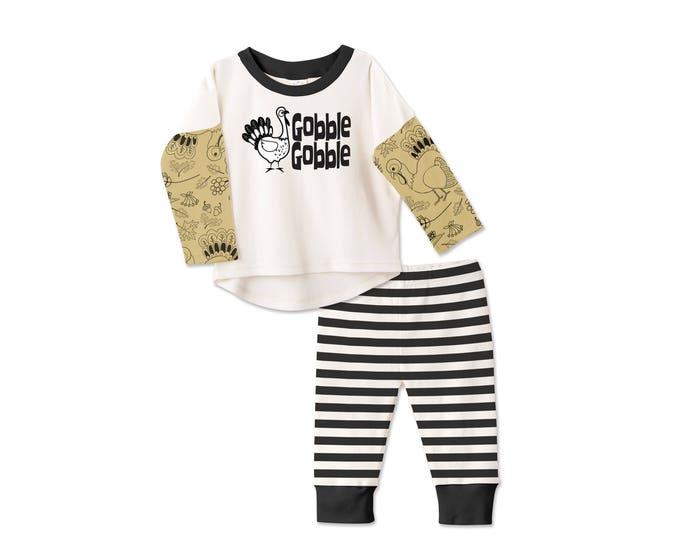 Baby Thanksgiving Outfit, Baby Boy Thanksgiving Outfit, Shirt, Leggings, Turkey, Gobble, Black Stripes, Tesababe TL130IYTT007C