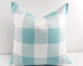 SALE Blue Pillow. Buffalo Check Pillow. Decorative Pillow. Canal Blue  Pillow cover. Country Pillows Cotton. Sham Pillow case.Select your si