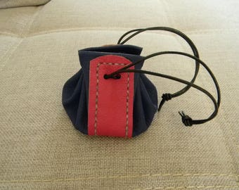 Handmade blue purple and pink leather purse
