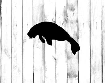 Manatee Silhouette - Yeti/Tumbler/Water Bottle/Macbook/Car/Truck/Phone/Home/Computer Decal