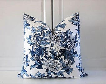 Ralph Lauren Decorative Pillow Cover-Nanking Dragon-Indigo- 18x18,20x20,22x22