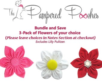 BUNDLE and SAVE, 3Pack Flower ONLY for Dog collar, collar flower, pet collar flower, wedding flower, flowers for dog collars
